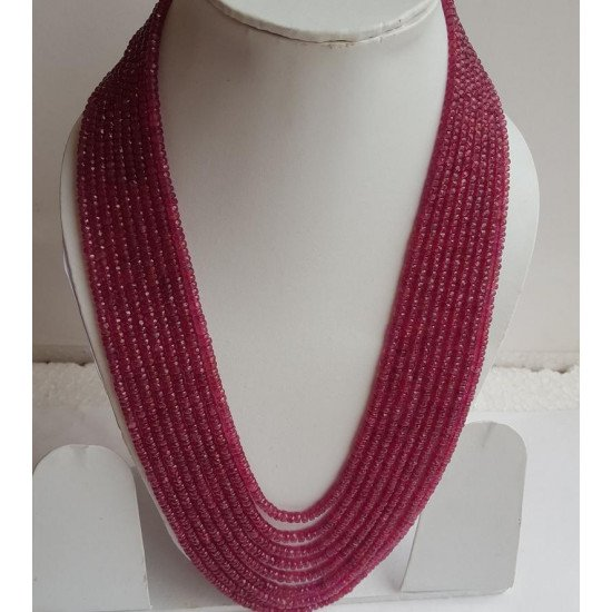 1400cts 9 lines Natural Certified Precious Ruby faceted beads Necklace