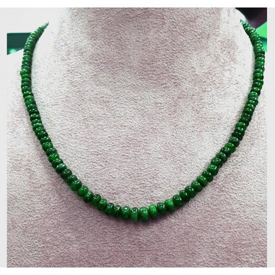 107ct Certified Emerald Plain Rondelle Beaded Gemstone Necklace