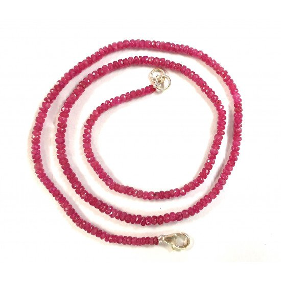 Natural Ruby Faceted Rondelle Beaded Woman Necklace 18 inch