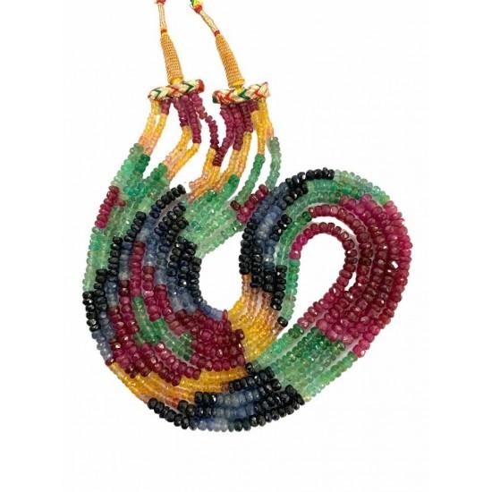 Precious Ruby Sapphire Emerald Multi Gemstones Beaded Necklace 350ct 5 lines
