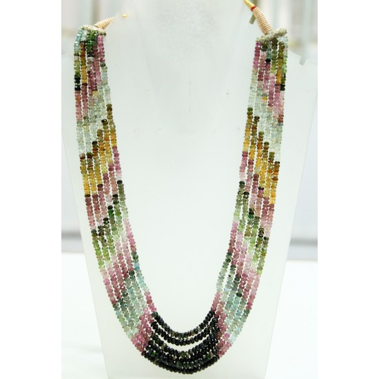 350cts 6 lines Natural Certified Multicolour Shaded Tourmaline Beads Necklace