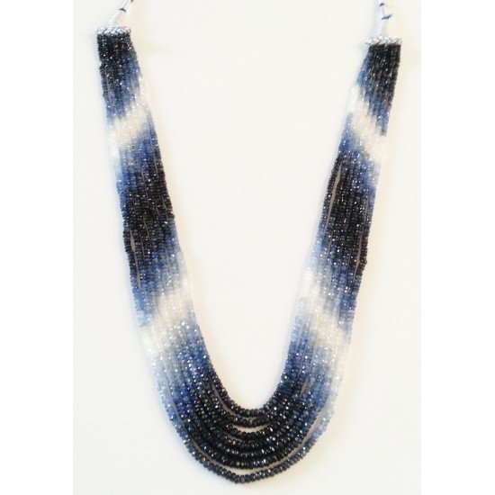 425cts Precious Natural Blue sapphire faceted Gemstones Beaded Necklace 7 lines