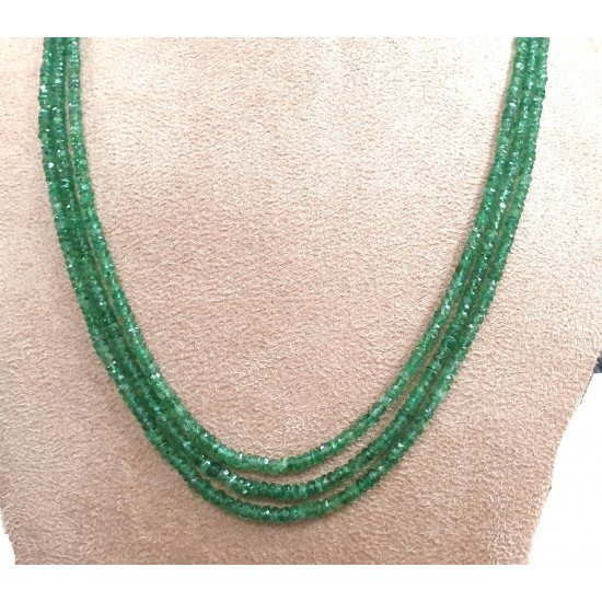 """122ct Beaded Faceted Roundel Certified Natural Emerald Beads18"""" inch"""