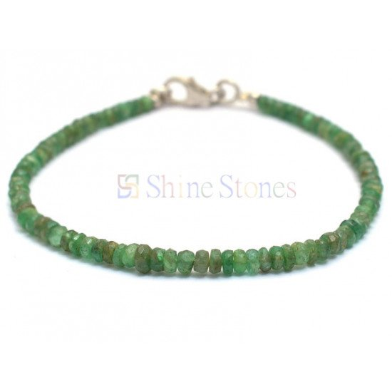 Natural Emerald Faceted Rondelle Beaded With Silver Clasp Bracelet 7 Inch