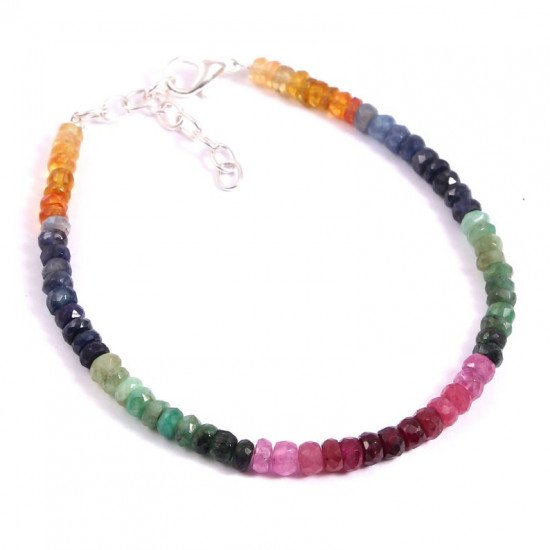 Natural Multi Sapphire Emerald Ruby Certified Faceted Bracelet 7 Inches