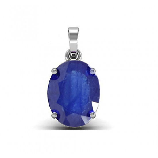 4.42ct Sterling Silver With Certified Blue Sapphire Oval Gemstone Pendant