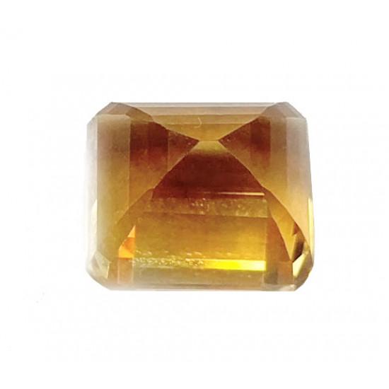 10ct Certified Natural Yellow Citrine Square Cut  Semi Precious Faceted Gemstone