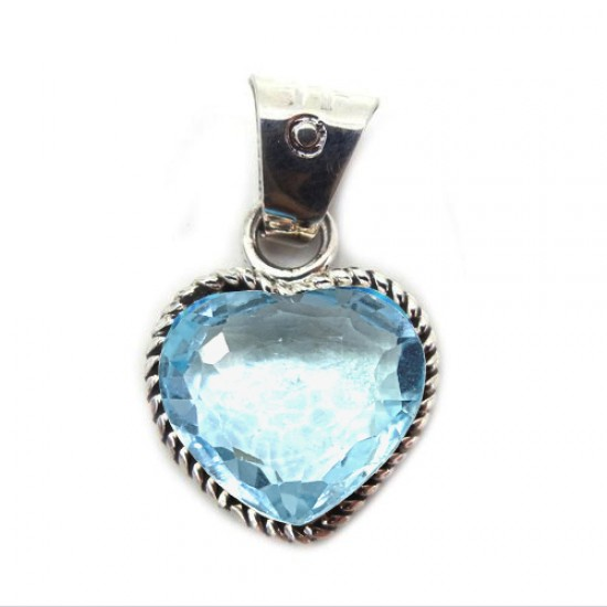 14 ct Certified Natural Blue Topaz Heart Shape Gemstone Pendant