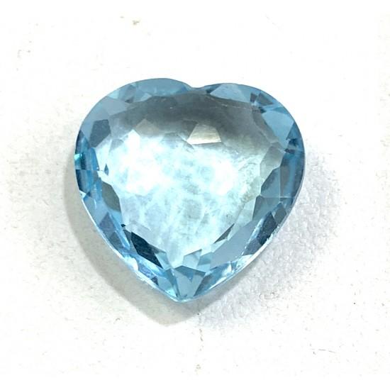 14 ct Certified Natural Blue Topaz Heart Shape Handmade Cut Gemstone