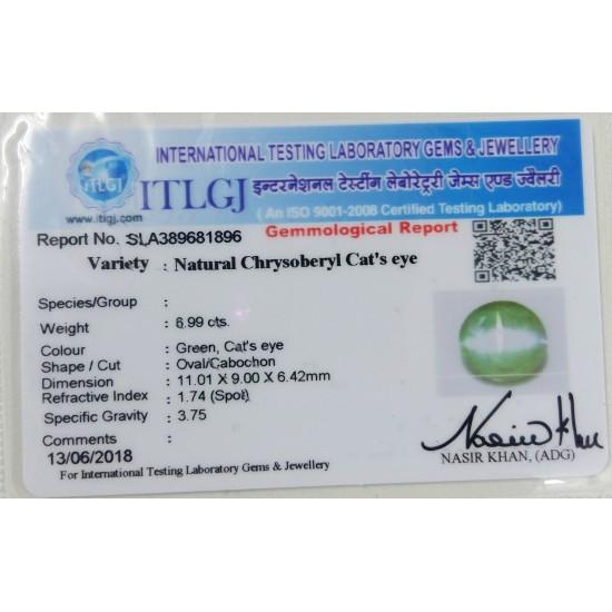 6.99ct 7.25 ratti Premium Quality Certified Natural chrysoberyl catseye lehsunia