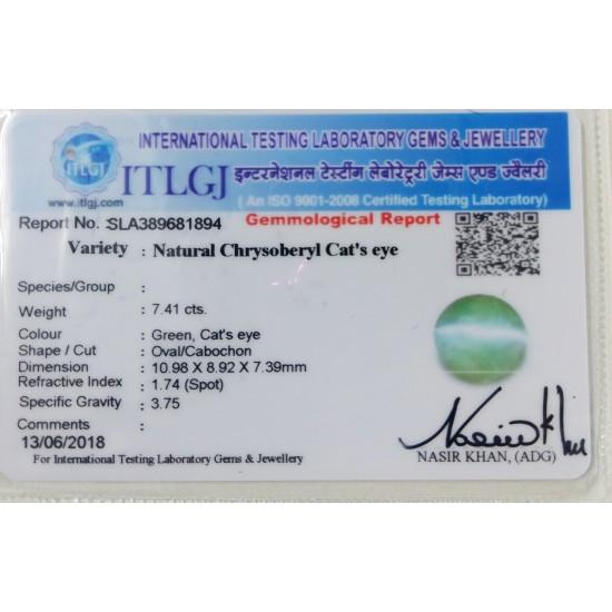 7.41ct 8 ratti Premium Quality Certified Natural chrysoberyl catseye lehsunia