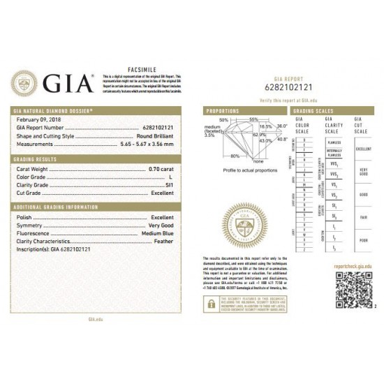 0.70 ct GIA Certified Diamond Solitaire Round Engagement Ring 18k Gold