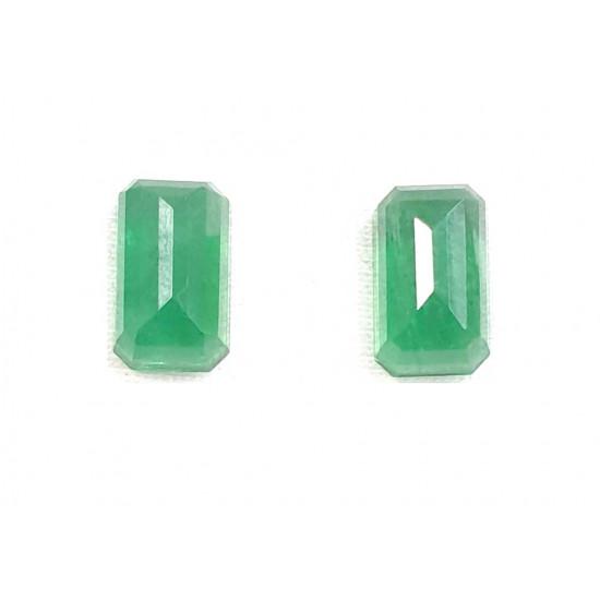 Certified  Natural Zambian Emerald Panna Clean Transparent 2 Pcs Pair 10.90cts