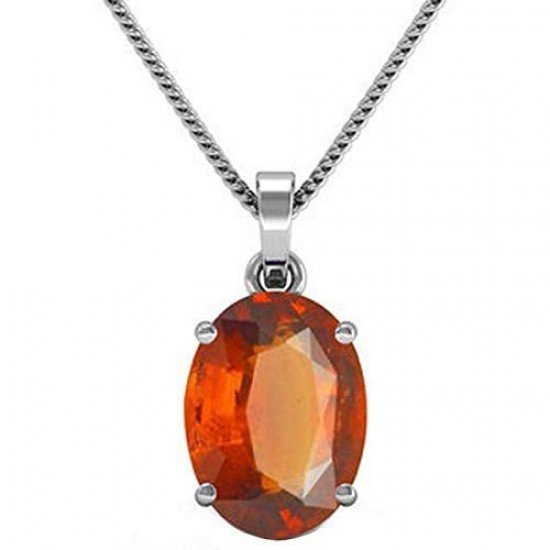 4.30ct 925 Silver Natural certified garnet ceylon hessonite Gemstone Pendant