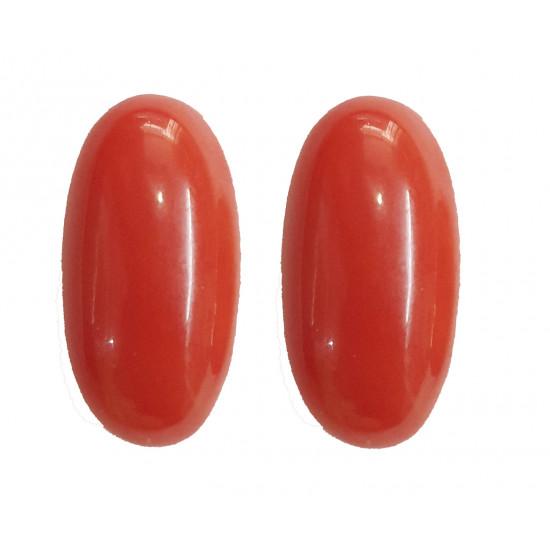 12.84ct Certified Natural Italian Red Coral Moonga Gemstone 1Pair Set