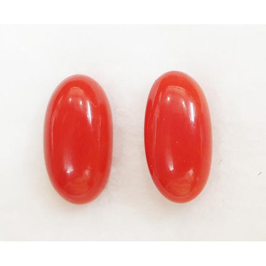 13.35ct Certified Natural Italian Red Coral Moonga Gemstone 1Pair Set