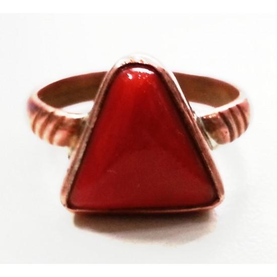 6.25ct 7.25ratti Natural Red Coral Ring - Triangle - Trillion - Pure Copper