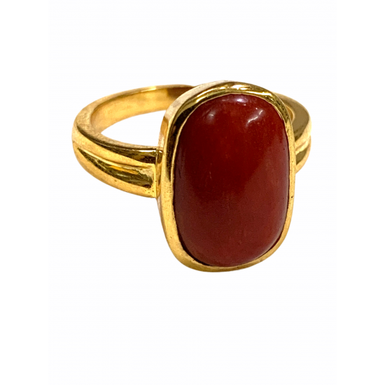 7.25 ct Premium Quality Natural Japanese Red Coral Moonga in 18k Gold Ring