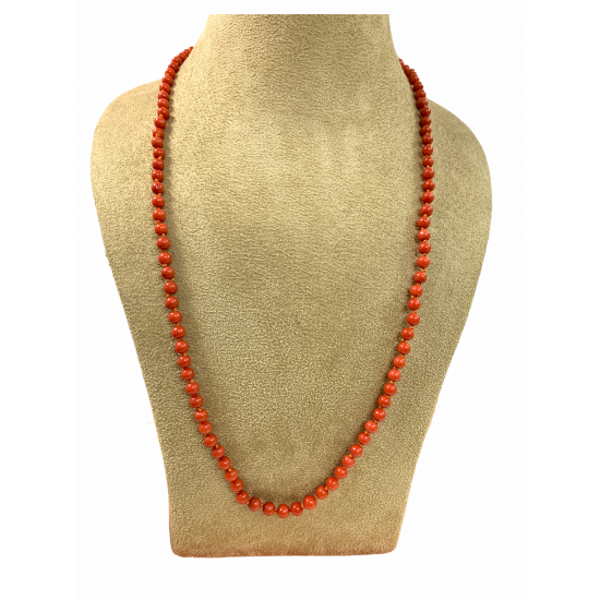 Natural Red Coral 109 Stones Round Beads Necklace Mala 130ct