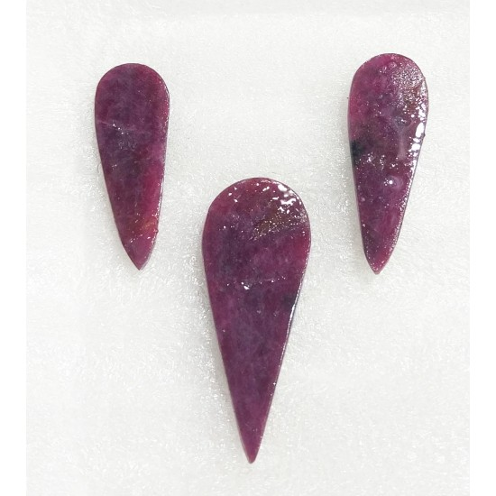 Rare 3pcs Layout Certified Natural Unheated Untreated Carved Ruby Gemstones 42ct