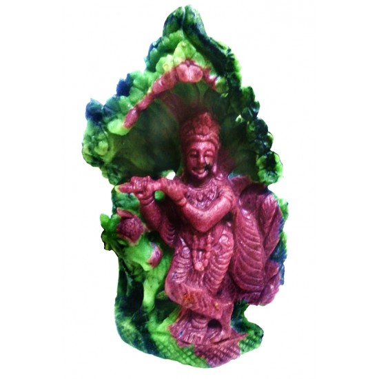 100% Natural Certified Unheated Untreated Carved Ruby Lord Krishna Idol 2100 Ct