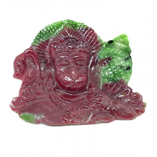 Natural Untreated Certified Carved Ruby Carving Lord Hanuman Idol 54 Ct