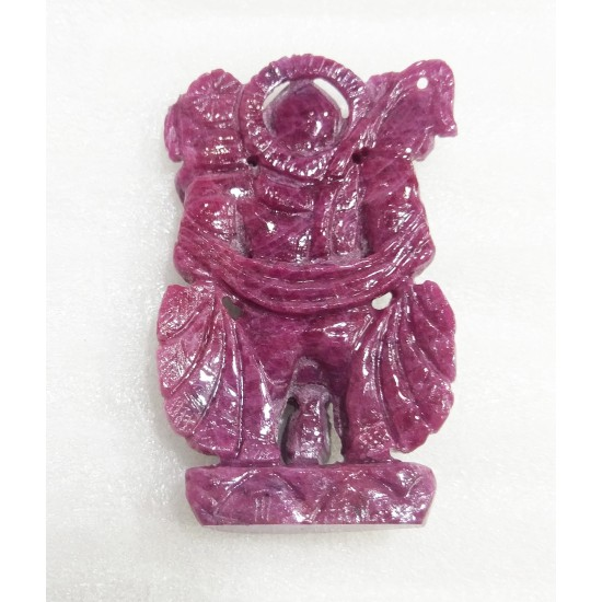 Rarest Certified Unheated Untreated Natural Ruby Carved Lord Hanuman 244 ct