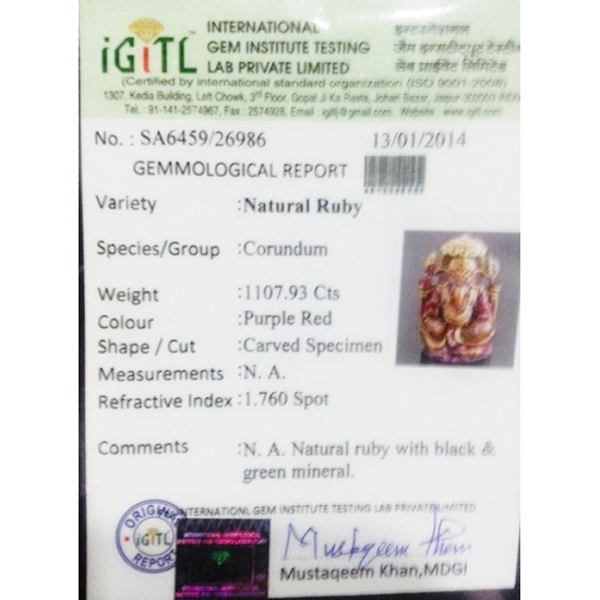 1107ct huge natural unheated untreated ruby ganesh lord ganesha certified rarest