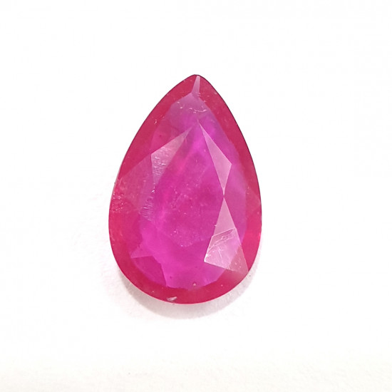 3.10ct 3.25 Ratti Natural Certified Pear Ruby Clean Transparent Quality