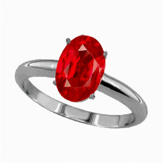 3.10ct 925 Silver Natural Certified Ruby Earth Mined Gemstone Ring