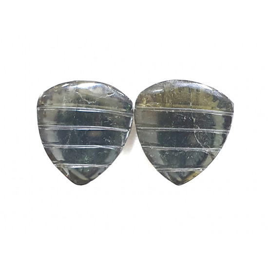 15ct Natural Tourmaline Carved Pair, Tourmaline Pear Fancy Shape Carvings