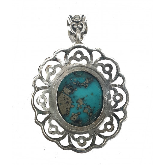 10ct 925 Silver Certified  Natural Turquoise Firoza Designer Pendant