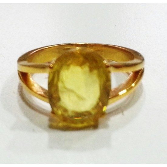 4cts 5ratti Natural yellow sapphire untreated certified pukhraj in 18k gold ring