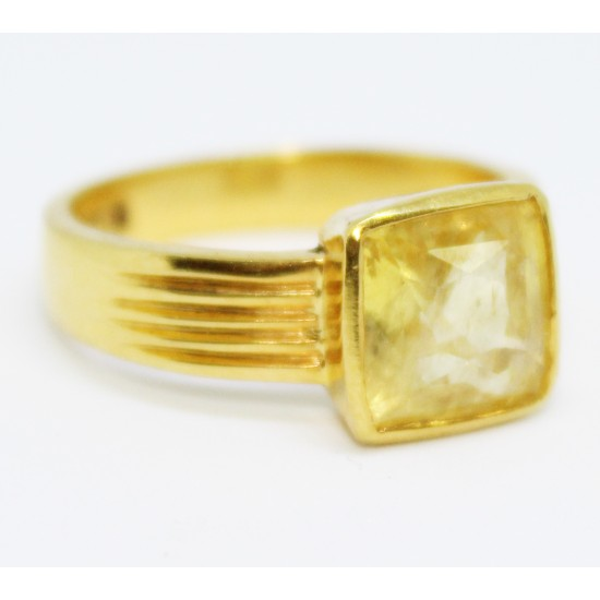 AAA Quality 5.53ct Ceylon Unheated Certified Yellow Sapphire 22k Solid Gold Ring