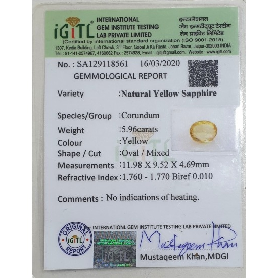 5.96Ct Ceylon Natural Unheated Yellow Sapphire Gemstone