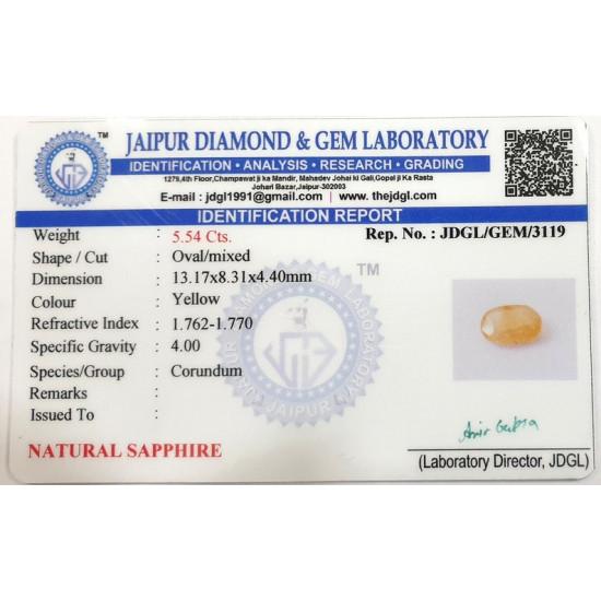5.54ct Natural Certified Ceylon Yellow Sapphire Pukhraj Loose Gemstone