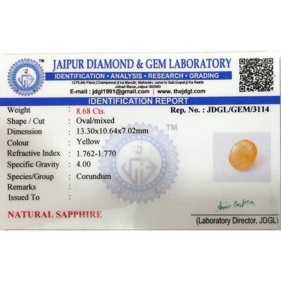 8.68ct Natural Certified Ceylon Yellow Sapphire Pukhraj Oval Loose Gemstone
